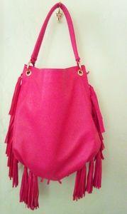 Bright Fuschia Hobo Fringe Tassel Shoulder Bag